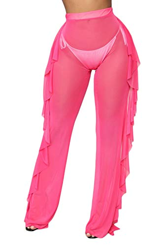 wsevypo Women Sexy See Through Sheer Mesh Ruffle Pants Perspective Swimsuit Bikini Bottom Cover up Party Clubwear Pants Rose Red]()