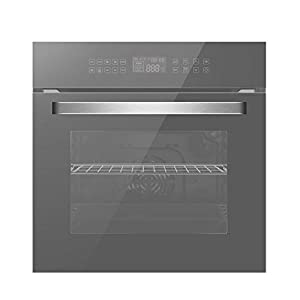 Empava 24″ Electric Convection Single Wall Oven 10 Cooking Functions Deluxe 360° ROTISSERIE with Sensitive Touch Control in Silver Mirror Glass EMPV-SOC17, SOC17