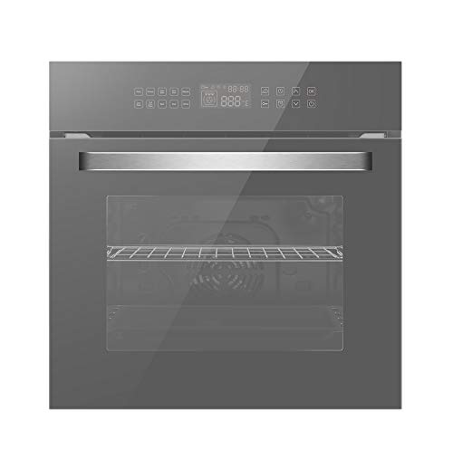 Empava 24″ Electric Convection Single Wall Oven 10 Cooking Functions Deluxe 360° ROTISSERIE with Sensitive Touch Control in Silver Mirror Glass EMPV-SOC17, WOB17