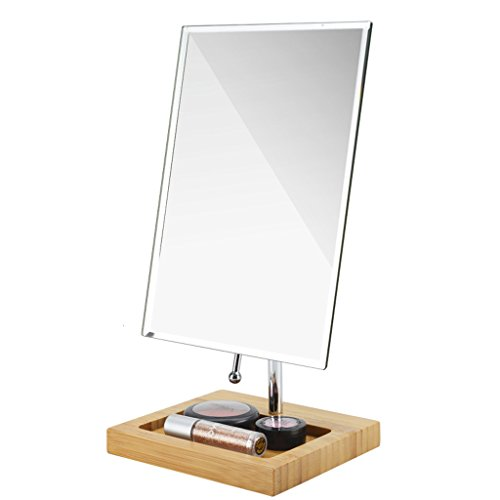 MLMH Desktop Makeup Mirror Bamboo Base Storage Box Vanity Mirror Creative Rotating Mirror Makeup Mirror