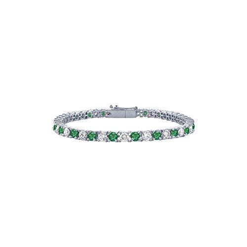 May Birthstone Emerald and Diamond Tennis Bracelet in Platinum 5 CT TGW