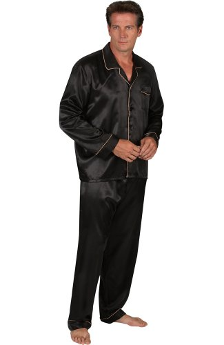 Alexander Del Rossa Mens Satin Pajamas, Long Button-Down Pj Set, Large Black with Gold Piping - Silk Pajamas Black