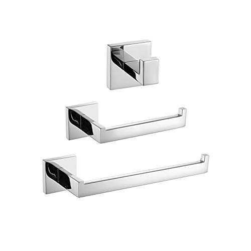 TURS Bathroom 3-Piece Accessories Set SUS 304 Stainless Steel Toilet Paper Holder Hand Towel Bar/Holder Robe Hook Wall Mount, Polished Finish, Q7010P