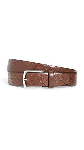 BOSS Hugo Boss Men's Jor Woven-Embossed Leather Belt, Medium Brown, 36