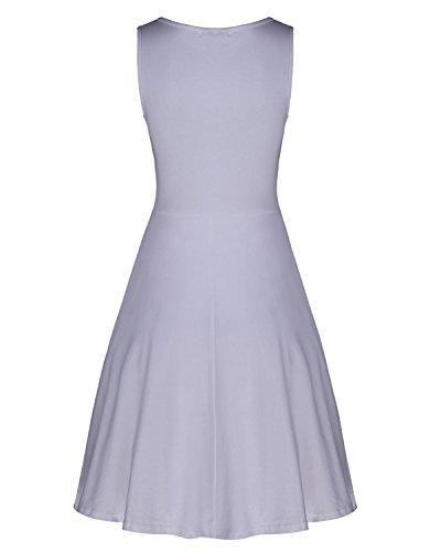 Delle V Collo Kilig Casuale Elegante Donne Bianco Midi Del Vestito Estate q5UHw4t5