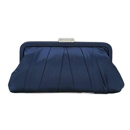Satin Bridal Handbag - Charming Tailor Classic Pleated Satin Clutch Bag Diamante Embellished Formal Handbag for Wedding/Prom/Black-Tie Events (Navy)