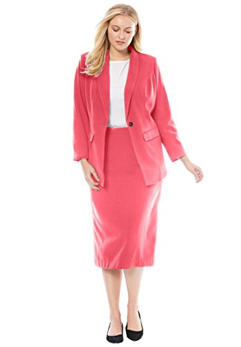 Jessica London Women's Plus Size 2-Piece Single-Breasted Skirt Suit Coral