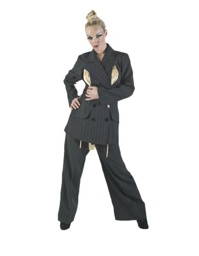 [Women's Deluxe Madonna Black Pant Suit Theatrical Costume, Large] (80s Singers Costumes)