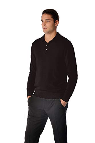 Cashmere Boutique: Men's 100% Pure Cashmere Polo Sweater (Color: Black, Size: Extra Large)