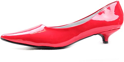 Pumps Red Fashion Patent Heel High Comfortable Qupid Shoes Leather Women's Pointy Kitten Toe 7vqz1B