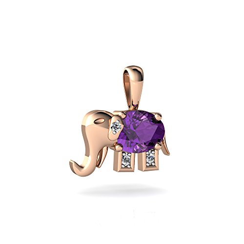 14kt Rose Gold Amethyst and Diamond 7x5mm Oval Elephant Pendant