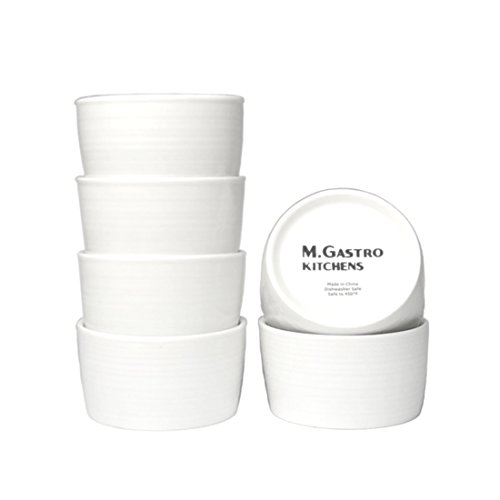 "M. Gastro Kitchens 6 Piece Set, 5 Ounce ""West Loop"" Ramekins, Creme Brulee, Souffle, Custards (5 Ounce, White)"