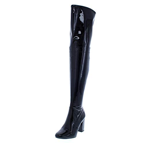 Kenneth Cole New York Women's Angelica Thigh-High Heeled Boot Over The Knee, Black Patent, 6 M US ()