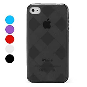 Protective Check TPU Case for iPhone 4 and 4S , Black