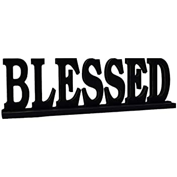 Blessed Sign for Home Decor, Wooden Blessed Block Letters Rustic Tabletop Words Decor (Blessed)