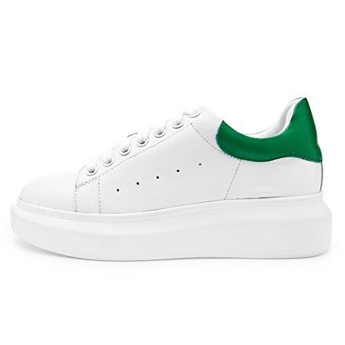 Shenn Damen Beiläufig Niedrige Oberseite Leder Ausbilder Schuhe Weiß&Grün