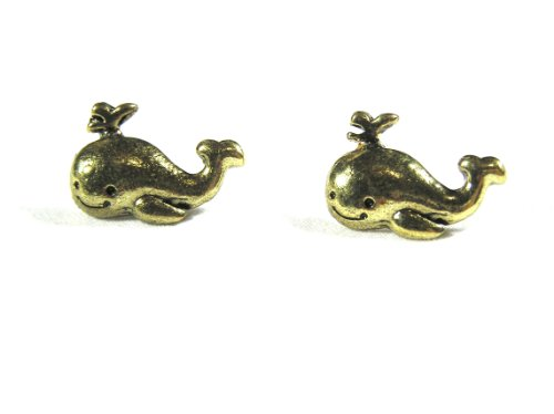 (Happy Whale Stud Earrings Cute Vintage Orca EB33 Retro Humpback Gold Tone Mod Posts Fashion Jewelry)