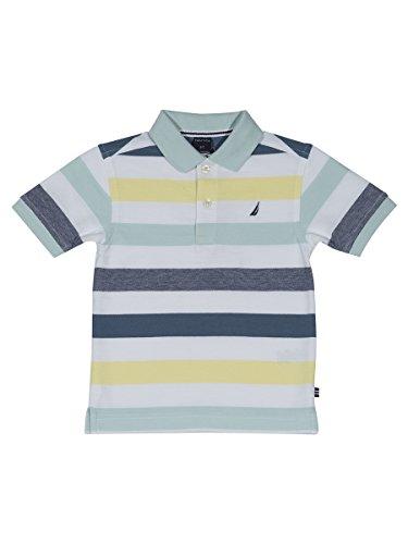 Nautica Boys' Big Short Sleeve Striped Deck Polo Shirt, West Cliff Light Blue, Medium (10/12)
