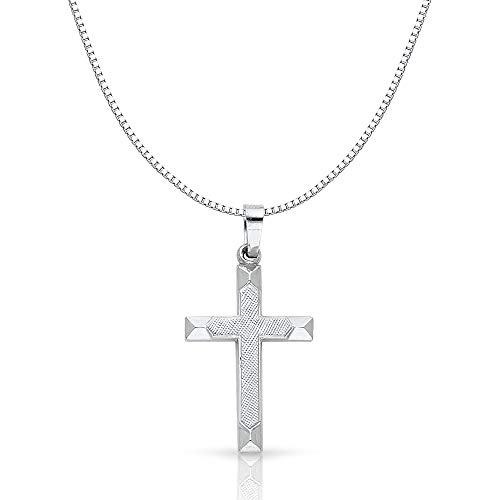 14K White Gold Religious Cross Charm Pendant with 0.8mm Box Chain Necklace - 20