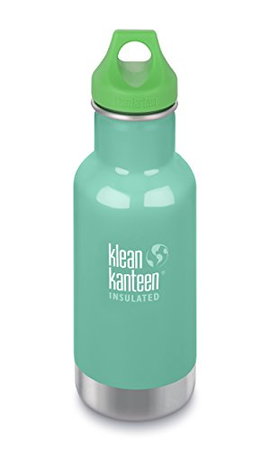 Klean Kanteen Kids Insulated Stainless Steel Water Bottle with Leak Proof Loop Cap - 12oz - Brushed Stainless