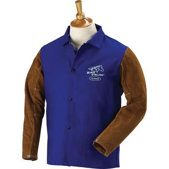 "BLACK STALLION Hybrid 9 oz. FR and Cowhide Welding Coat - 30"" Royal Blue/Brown - XXL"