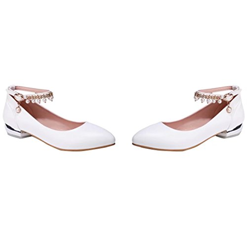 AIYOUMEI Damen Geschlossen Knöchelriemchen Pumps mit Schnalle und 3cm Absatz Chunky Heel Schuhe weiß+perlen