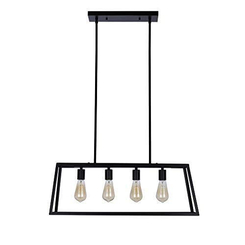 Stone & Beam Industrial Open Rectangle Frame Ceiling Chandelier Pendant with 4 LED Light Bulbs - 9.5 x 9.5 x 14.38 Inch, Matte Black