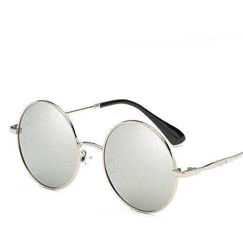 Chahua Lunettes de soleil brillant rond rétro lunettes de soleil Lunettes de soleil mode Trame hommes, B
