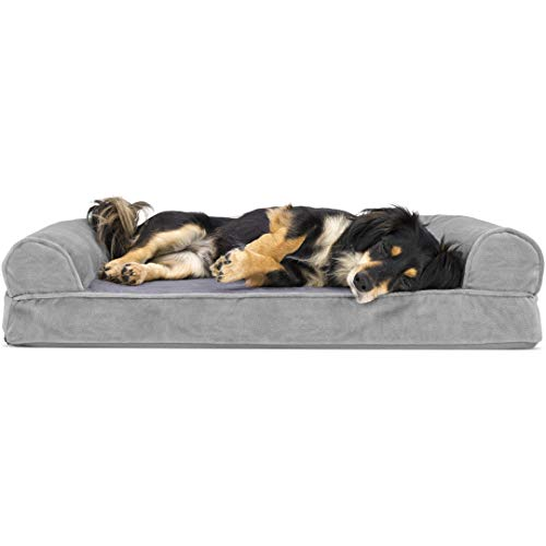 Furhaven Pet Dog Bed   Orthopedic Faux Fur & Velvet Traditional Sofa-Style Living Room Couch Pet Bed w/ Removable Cover for Dogs & Cats, Smoke Gray, Medium
