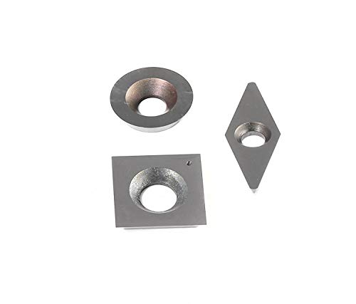 YUFUTOL 3pcs Tungsten Carbide Cutters Inserts Set for Wood Lathe Turning Tools(Include 15mm Square,16mm Round,28x10mm Diamond with Radius Point),Supplied with ()