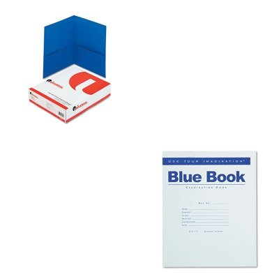 KITROA77512UNV56601 - Value Kit - Roaring Spring Exam Blue Book (ROA77512) and Universal Two-Pocket Portfolio (UNV56601)