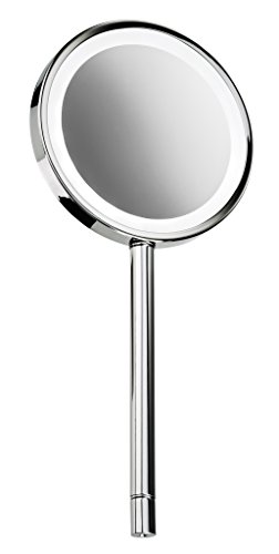 DWBA Round Hand Held Cosmetic Makeup LED Light Magnifying Mirror 3x, Chrome by DWBA Bath Collection
