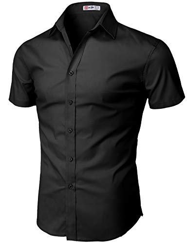 H2H Men Casual Slim Fit Short Sleeve Button Down Dress Shirts Black US L/Asia XL (KMTSTS0132) -