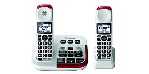 - Panasonic KX-TGM420W + (1) KX-TGMA44W Amplified Cordless Phone with Digital Answering Machine and Voice Volume Booster upto 40 dB (2 Handsets)