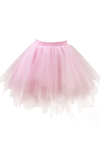 Emondora Women's Tutu Tulle Petticoat Ballet Bubble Skirts Short Prom Dress Up Pink Size M-XL (Dress Up Womens)