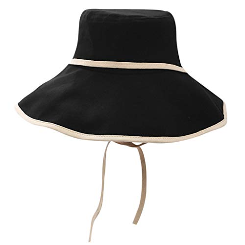 IEasⓄn _Hat,Women Wide Brimmed Floppy Foldable Summer Beach Hat Sunhat Bucket Packable Hats Black