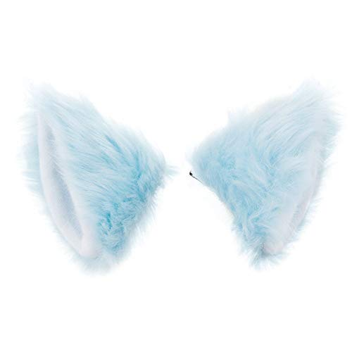 Pavian Cute Fur Cat Fox Ears Hair Clip Tail Set Halloween Xmas Cosplay Costume for Child Adult (blue) -