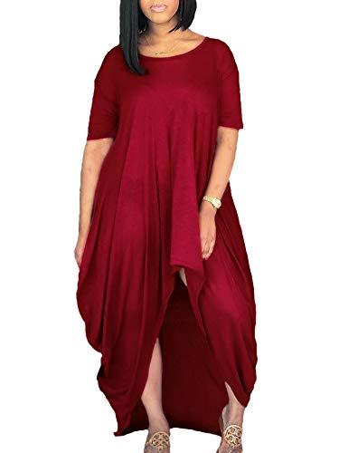 Women Summer Short Sleeve Loose Fit Ruched High Low Asymmetrical Swing T Shirt Long Beach Maxi Dress RE M - Ruched Asymmetric Dress
