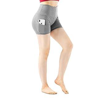 YOGAFEEL Women's Girls High Waisted Athletic Short Pants Leggings Jogging Yoga Shorts with Side Pockets Red Medium YGF30004-3M