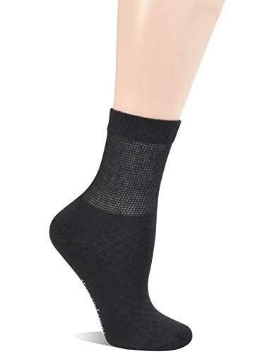 Womens Diabetic Quarter Socks - Yomandamor 5 Pairs Women's Bamboo Quarter Breathable Diabetic Socks with Seamless Toe and Cushion Sole
