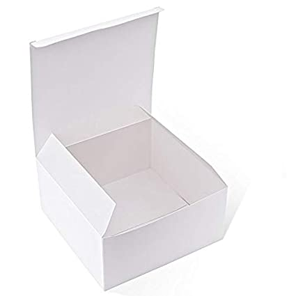 Mydio White Cardboard Tuck Top Gift Boxes With Lids 8 X 8 X 4 Inches 10 Pack For Gifts Crafting Cupcakes