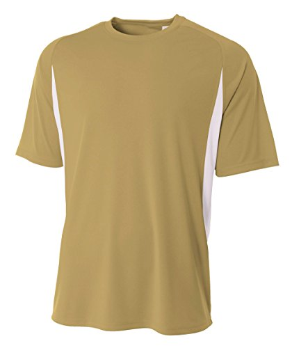 A4 Youth Cooling Performance Color Block Short Sleeve Shirt  Large  Vegas Gold White