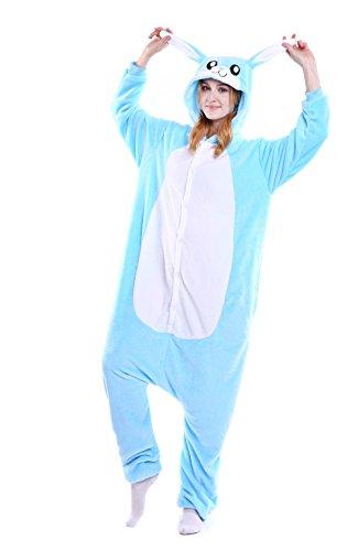 ChicCosplay Bunny Halloween Costume Cosplay Loungewear Kigurumi Pajamas Blue Bunny S