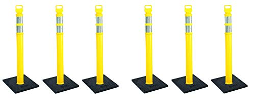 Cortina EZ Grab Delineator 45'' Post, 3'' Hip Collars with 10 lb Base, 03-747YRBC-3, Yellow, 3 Pack (2 X Pack of 3) by Cortina (Image #2)