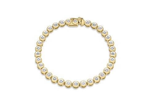 "Jewellery World Bague en or jaune 9carats Diamant tore Link Bracelet 18cm/7"""