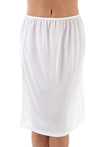 """Mujeres/Señoras Ropa Interior Enaguas Slip Con Elástico En La Cintura Stretch Fit, 24"""" De Longitud, Varios Colores Y Tamaños Blanco"""