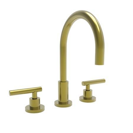 Newport Brass 990L/04 East Linear Double Handle Widespread Lavatory Faucet with Metal Lever Handles (L, Satin Brass