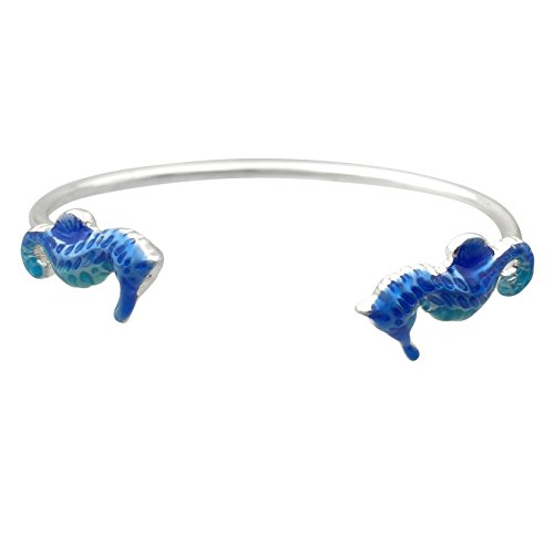 Simple Theme Cuff Bracelet (Blue Seahorse Silver Tone) ()