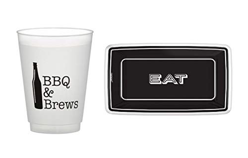 BBQ & Brews Party Entertaining Kit - Bold, Black & White Paper Party Supplies - Plates and Beer Cups for 8