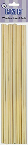 PME DR1008 Wooden Dowel Rods for Cake Construction-Pack of 12, Standard, Brown]()